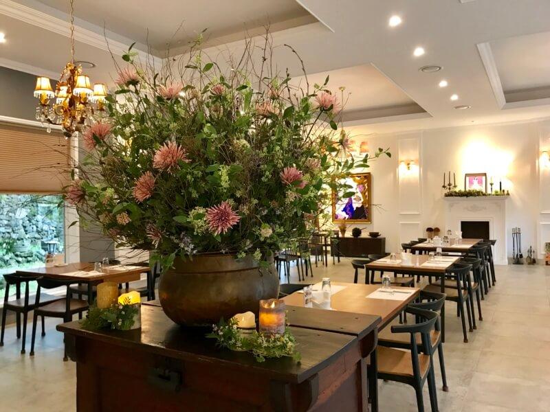チェジュ島のアワビのレストランの内装