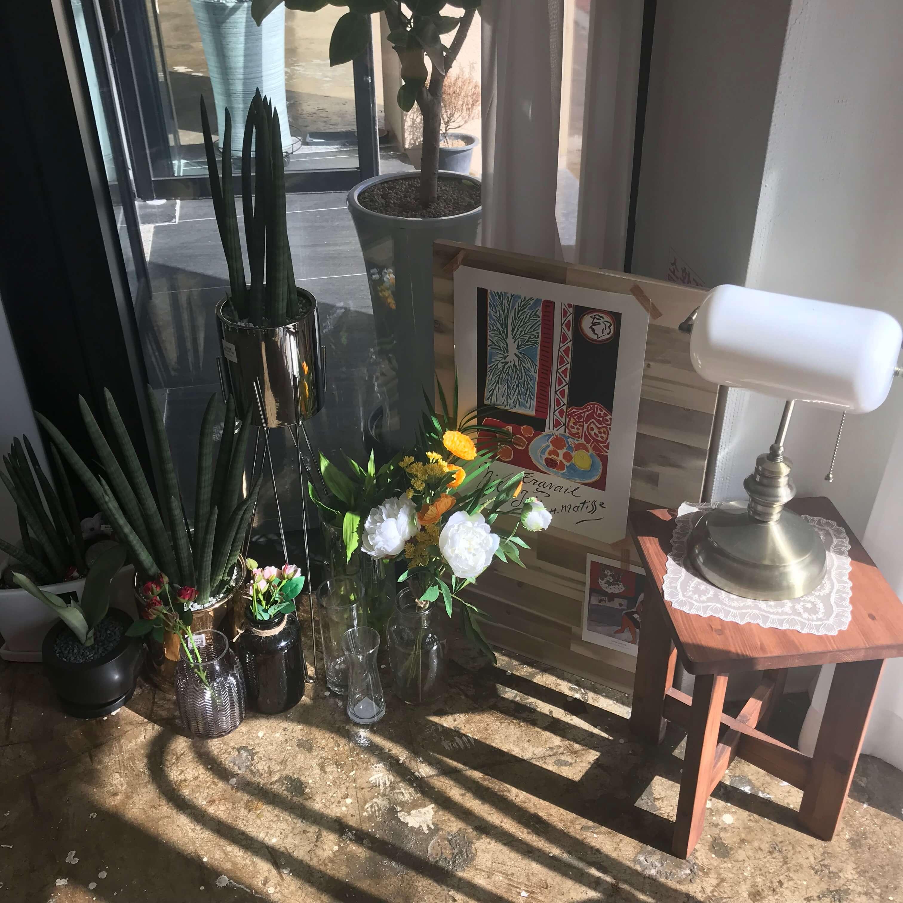 チェジュ島のマカロン店のお花