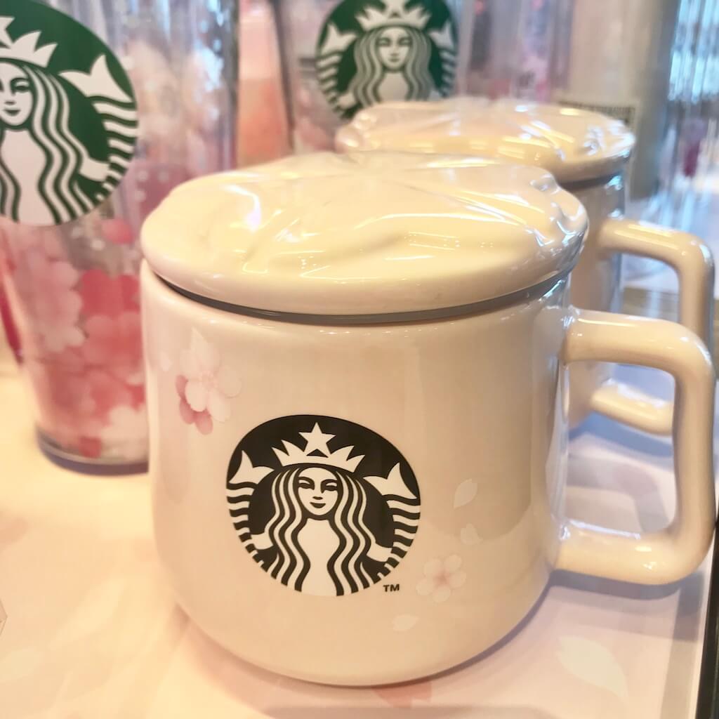 韓国スタバ限定の桜の陶器の蓋付きカップ