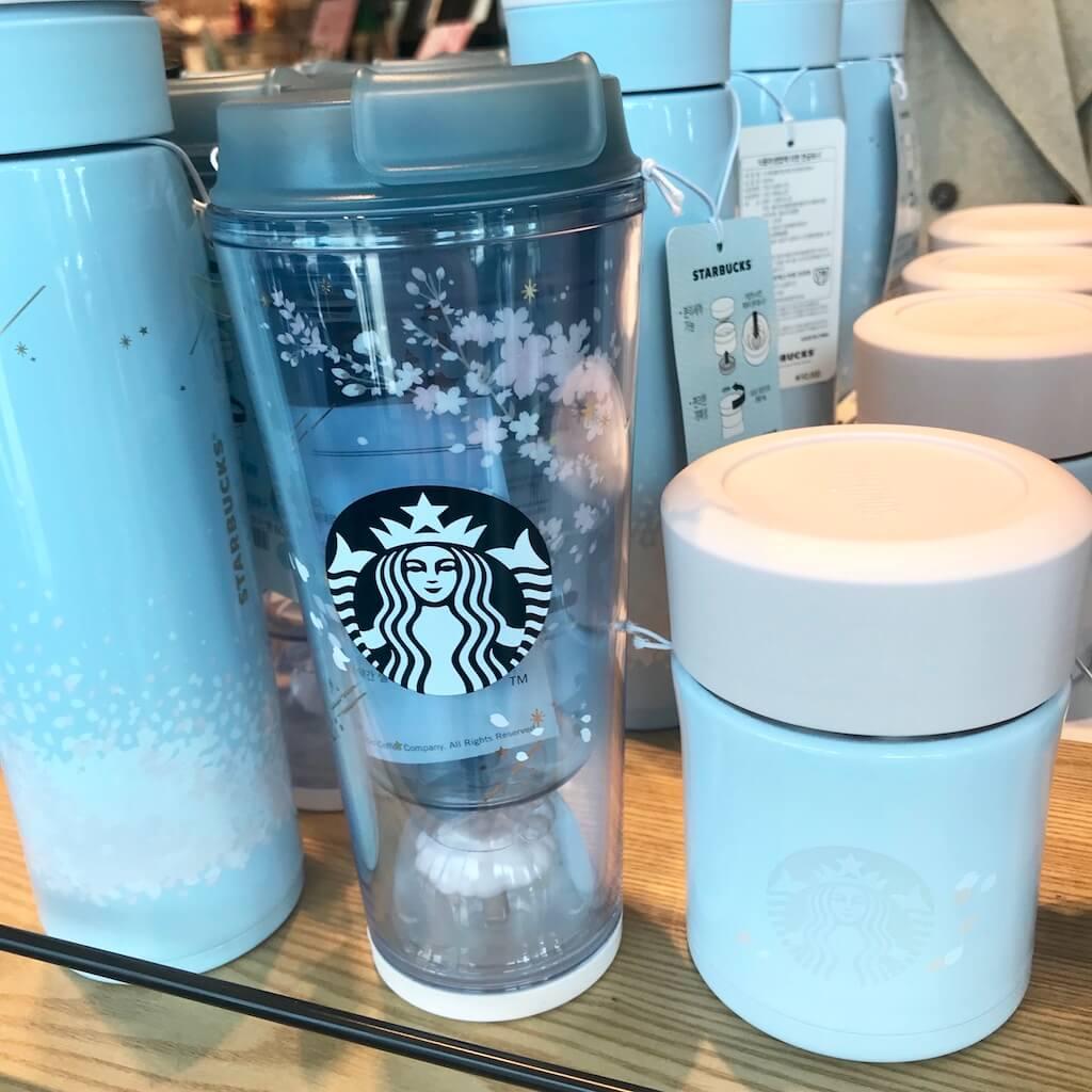 韓国スタバ限定の水色の水筒